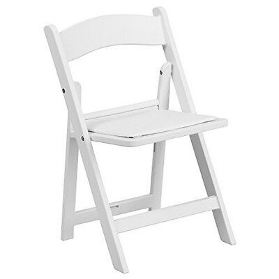Flash Furniture Kids White Resin Folding Chair With White Vinyl Padded Seat NEW