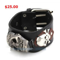 wide leather skull watch