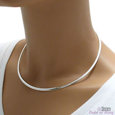"""3.0mm 925 Sterling Silver DOMED OMEGA Chain Necklace 16"""" 18"""" 20"""", Made in Italy"""