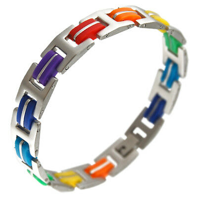 New LGBT Gay Pride Rainbow Color Stainless Steel and Rubber Bracelet 7.5
