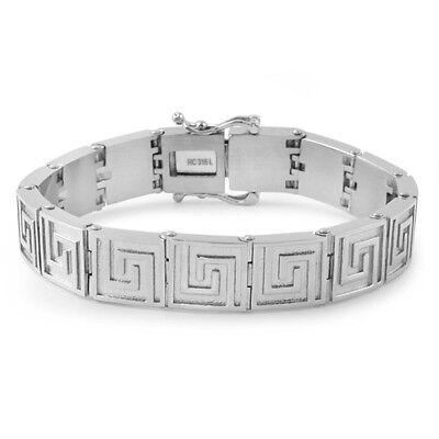 Silver Greek Key No Fade Stainless Steel Bracelet For Men - Greek Key Mens Bracelet