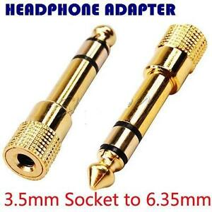 3.5mm Socket to 6.35mm Jack Plug Audio converter Headphone Adapter GOLD PLATED