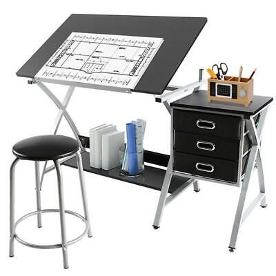 Silver Black Drafting Table Art & Craft Drawing Station Desk W  Stool (Station Drafting Table)