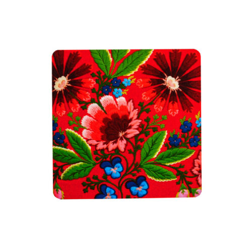 Swedish Folk Art Flower Coaster Set of 4 Red Holiday Christmas