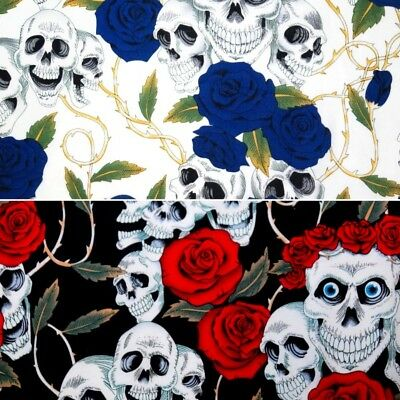 100% Cotton Fabric Large Skulls and Roses Thorns Halloween 135cm Wide (Halloween Thorn)