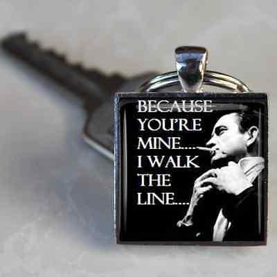 Johnny Cash Keyring I walk The Line Lyrics Handmade in the UK by Dandan Designs