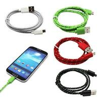 BRAIDED ROPE MULTI-COLOR MICRO USB CABLE DATA SYNC CABLE **CORD