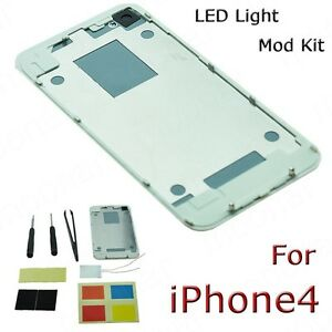 2Colors Luminescent LED Light Mod Kit Glowing Logo Back Cover Case for iPhone 4