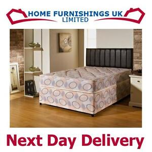Divan bed firm orthopaedic quilted bonnell spring 2ft6 3ft for Divan beds double 4ft 6 sale