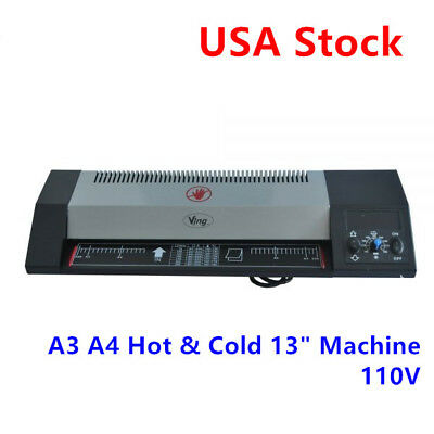A3 A4 Hot Cold 13 Steel Thermal Laminator Machine Roller Pouch Photo Office