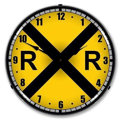NEW RAILROAD CROSSING RR TRAIN BACKLIT LIGHTED RETRO CLOCK - FREE SHIPPING*