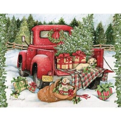 HOLIDAYS CHRISTMAS CROSS STITCH PATTERN, CHRISTMAS RED TRUCK BEST FRIENDS ()