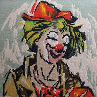 Large Framed Vintage Needlepoint Circus Clown Hand Accordion Nee