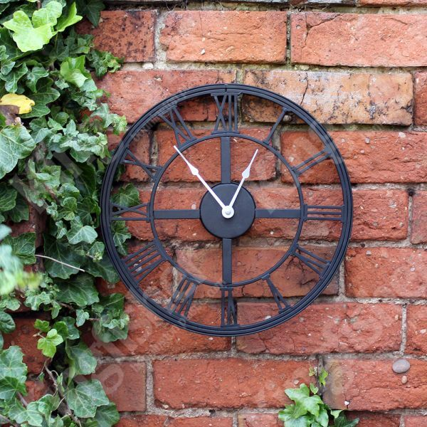 new large 50cm white metal round garden outdoor wall clock