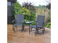 Garden Patio Love Seat Rocker Chair Furniture Set (Choice of 2 colours, Black or Cream)