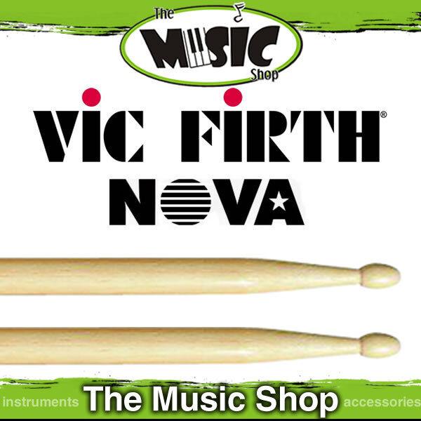 New Set of  Vic Firth Nova 2B Drumsticks with Wood Tip - Natural Drum Sticks