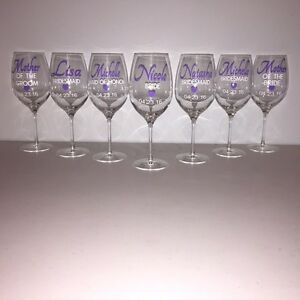 Personalized wine glasses for a wedding party..