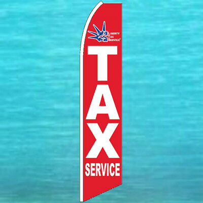 Liberty Income Tax Service Red Flutter Flag Advertising Feather Swooper Banner