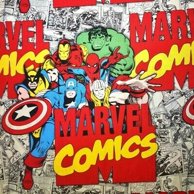 SALE 100% Cotton Fabric Marvel Comics Iron Man Hulk Wolverine Captain America
