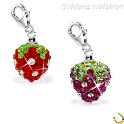 Kristall Erdbeere Charm Anhänger für Bettelarmband 925 Echt Silber Geschenkidee Kristall Charms