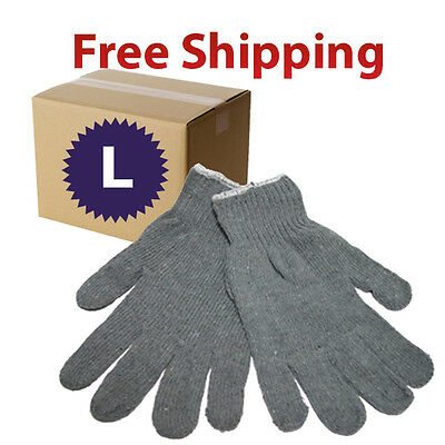 300 Pairs (25 Dozens) Grey Cotton String Knit Grey Gloves - Size Large L