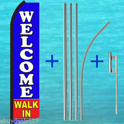 Welcome Walk In Swooper Flag 15 Tall Pole Kit Flutter Feather Banner Sign