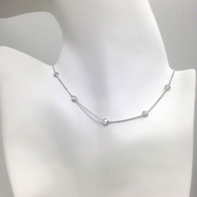 2 TCW Diamond By The Yard 10 Station Necklace 14k White Solid Gold 18""