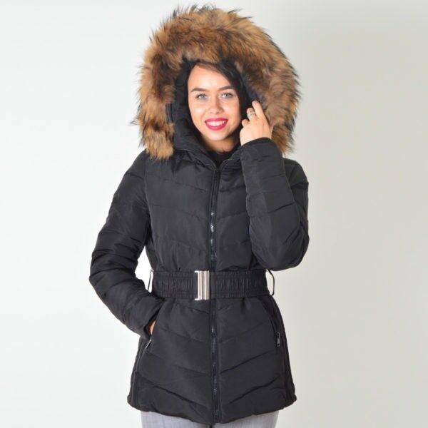 ATTENTIF PARIS - Black Padded Coat Fur Hood Size 14