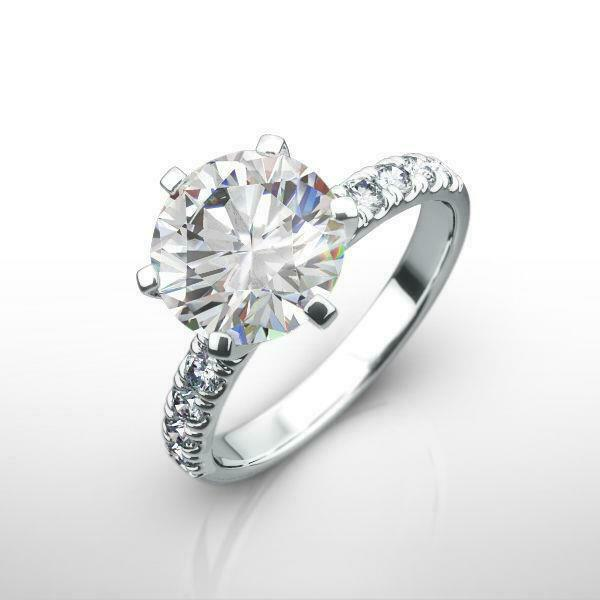 Vvs1 Awesome Diamond Round Ring Estate Solitaire W Accents 14k White Gold 3 Ct