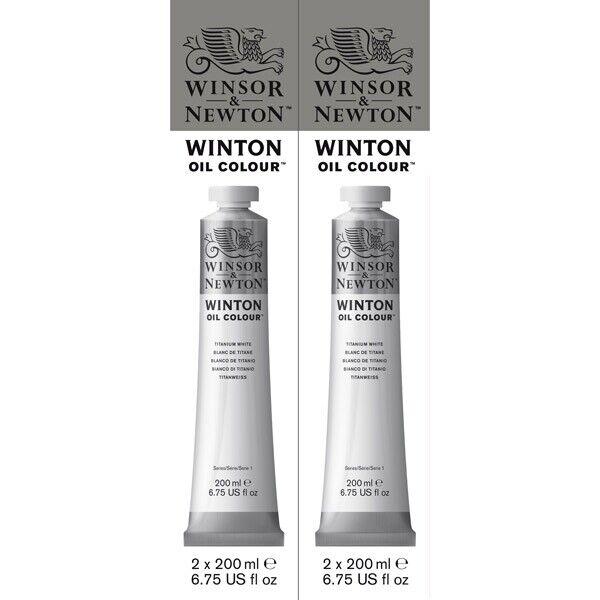 Winsor & Newton Winton 200ml Oil Color Titanium White 2 Pack