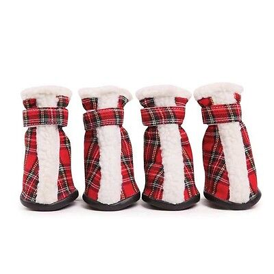 (Dog Boots Shoes Paw Covers Set of Four Tartan Design Sherpa Trim Closure)