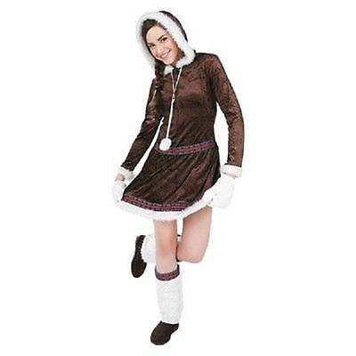 Eskimo Kisses Velvet Fur Adult Halloween Costume Medium Dress Mittens - Eskimo Costume Halloween