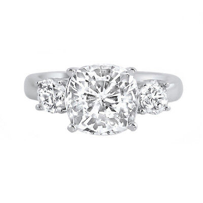 2.5 Carat Cushion Cut Classic 3 Stone High Grade 5A CZ Womens Ring