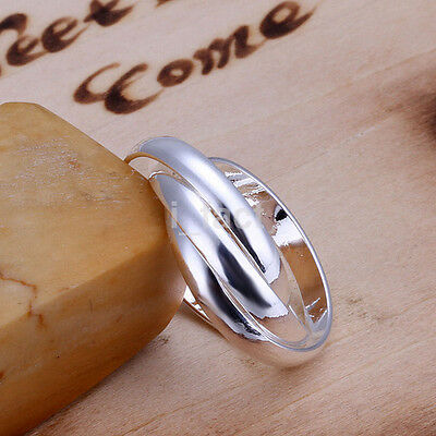 Women 925 Silver Plated Cute Circle Ring  Fashion Wedding Engaged Ring  CA
