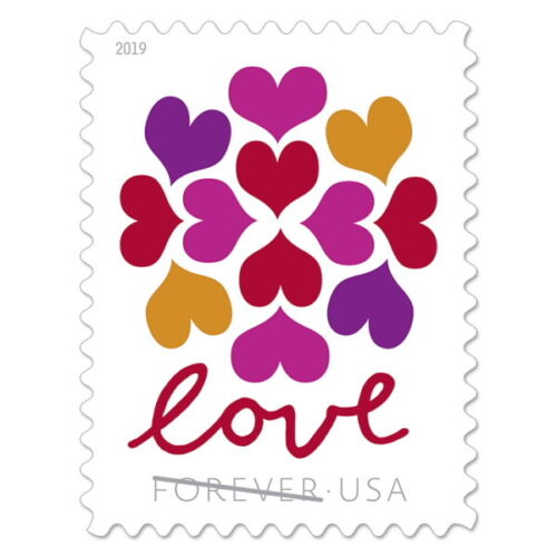100 USPS Love Hearts Blossom Forever Postage Stamps (5 x 20 )