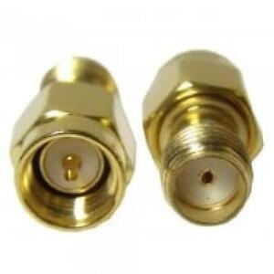 SMA Male to SMA Female Adapter - Straight - Gold - Pack of 2 Adapters - 41920