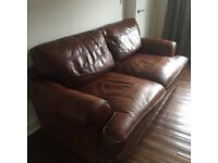 Large leather sofa plus leather chair