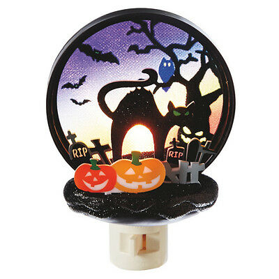 Halloween Cat Night Light (Halloween Pumpkins & Black Cat ~ Jack-O-Lantern Scene Night Light)
