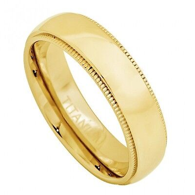 Titanium Ring Men Women Domed High Polish Yellow Gold Plated Band 5mm Size (5mm Titanium Band Ring)