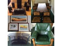3D blu Ray & surround sound, dinning table, leather chair, world war 2 prints