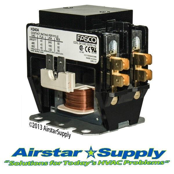 Definite Purpose Contactor Heavy Duty 2 Pole • 40 Amp • 24V Coil H240A Fasco