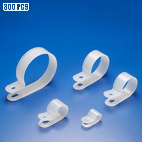 """300 Pcs 12mm 1//2/"""" R Type Cable Clamps Cord Clips Organizer Wire Management Clear"""
