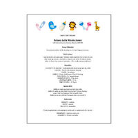 Digital Download - Word Template - Novelty Baby's First Resume