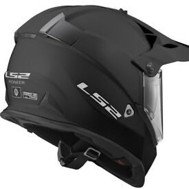 LS2 Pioneer MX436 Solid Matt Black or Solid White Helmet - On/Off Road