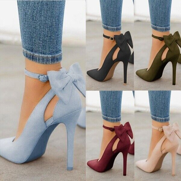 Women High Heels Pointed Toe Sandals Ankle Strap Bow-knot St
