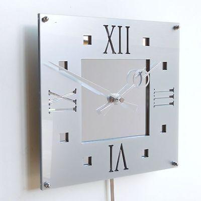 Roco Verre Acrylic Gloss Modern Retro Wall Clock RED WHITE BLACK SILVER TWO SIZE