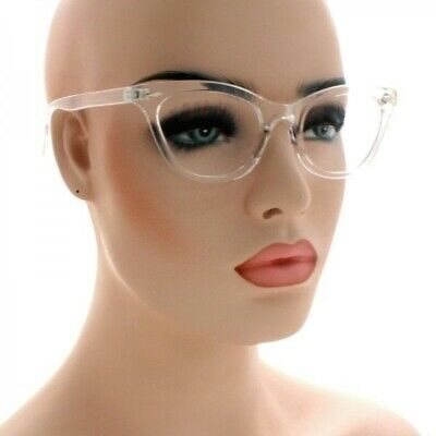 VINTAGE RETRO 60s CAT EYE Style Clear Lens EYE GLASSES Transparent Crystal (Cat Eye Crystal)