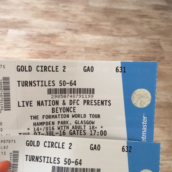 The formation world tour beyonce glasgow 7th july gold circle 2 the formation world tour beyonce glasgow 7th july gold circle 2 vip next to stage m4hsunfo
