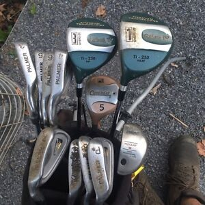 Golf clubs and bag left hand