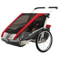 Double Chariot running stroller with bike attachment and skis